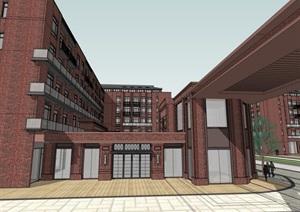 现代欧式新古典经典红砖表皮材?#39318;?#23429;底层沿街商业步行街综合体