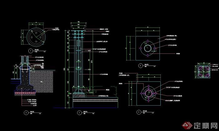 详细的经典景观灯柱设计cad施工图图片