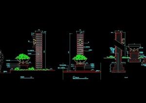 景观灯柱完整设计立剖面图