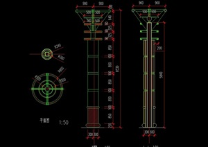 景观灯柱设计cad平立剖方案