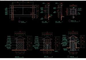 两个景观灯柱素材cad施工图