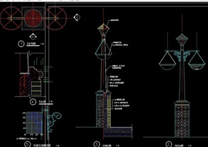 详细的整体景观灯柱cad施工图
