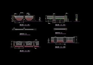 围墙栏杆详细设计cad平立面图