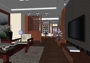 简洁精美的中式客厅家装SU(草图大师)模型设计-