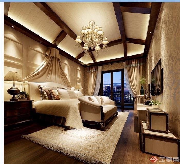 欧式详细的卧室装饰3d模型及效果图