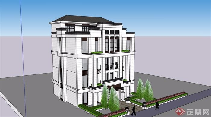 新古典风格自建别墅设计su模型