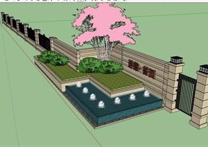 现代风格水池景墙围墙素材SU(草图大师)模型