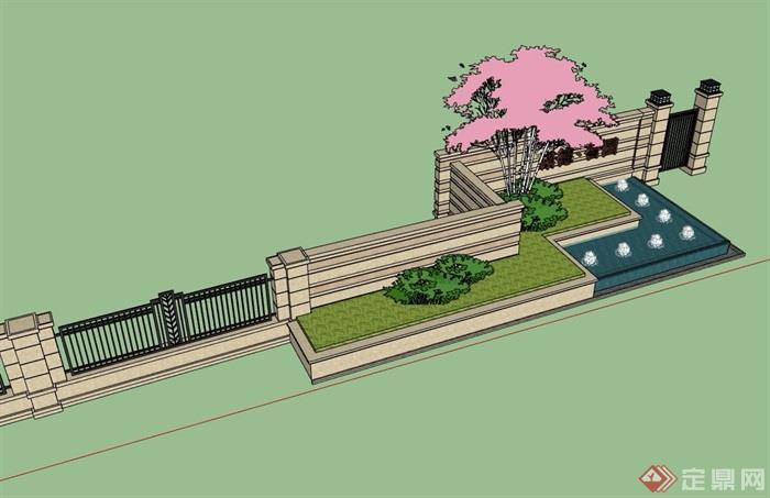 现代风格水池景墙围墙素材su模型
