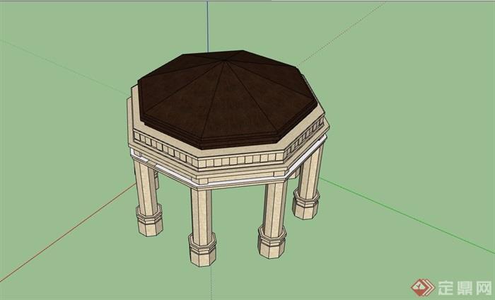 欧式园林景观节点亭子素材su模型