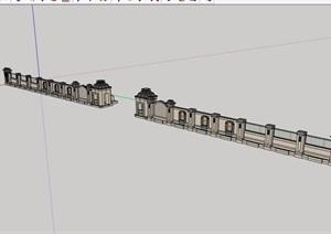 欧式景墙围墙大门素材设计SU(草图大师)模型