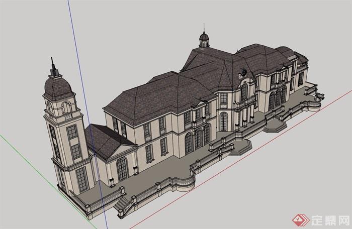 详细的两层欧式会所建筑设计su模型