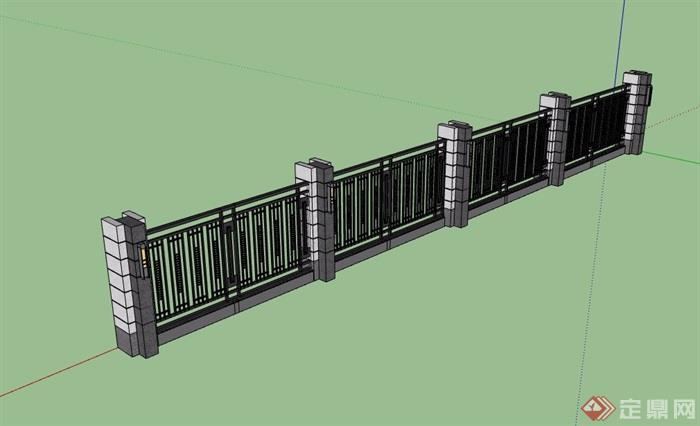 现代风格小区栏杆围墙设计su模型