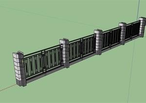 现代风格小区栏杆围墙设计SU(草图大师)模型