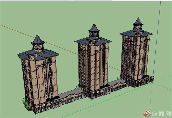 欧式风格底商住宅楼设计su模型[原创]
