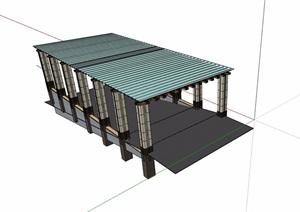 地下车库入口玻璃廊架SU(草图大师)模型