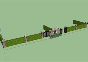 欧式风格独特围墙大门素材SU(草图大师)模型