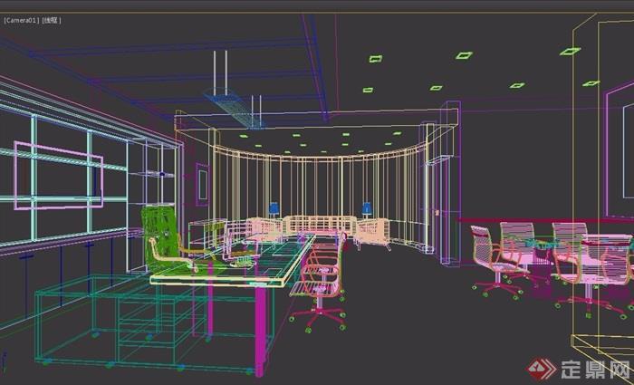 某室内办公室空间装饰设计3d模型