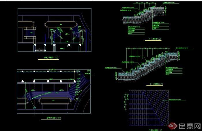 园林景观详细的经典台阶素材设计cad施工图