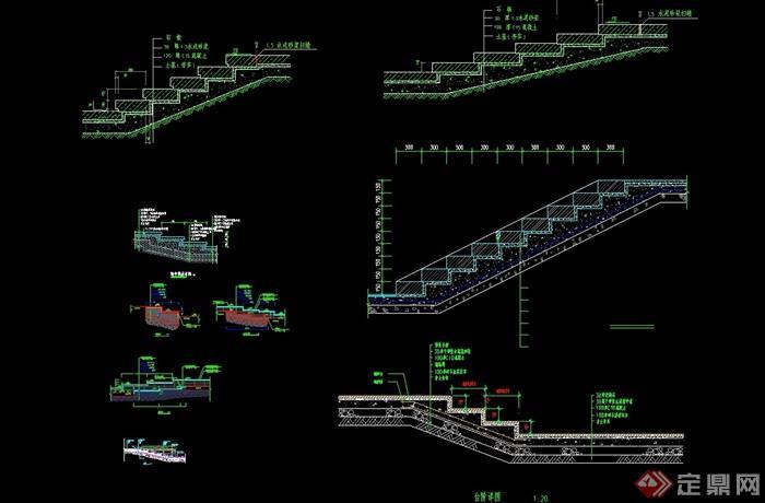 园林景观台阶素材设计cad施工图