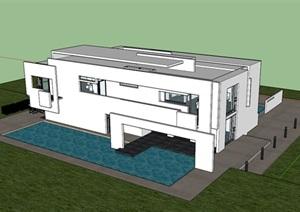 仿白色派迈耶建筑的现代主义风格详细的别墅建筑SU(草图大师)模型