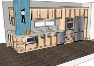 现代风格转角式一体式橱柜设计SU(草图大师)模型
