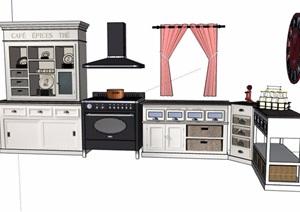 现代风格橱柜组合素材SU(草图大师)模型