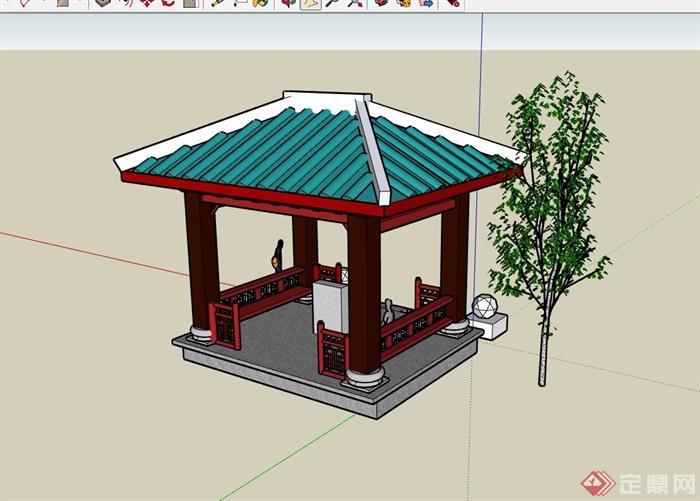 某中式庭院凉亭素材设计su模型