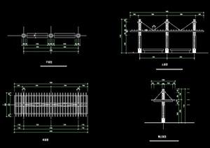 园林景观节点长廊架设计cad方案