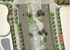 道路景观绿化设计平面图PSD