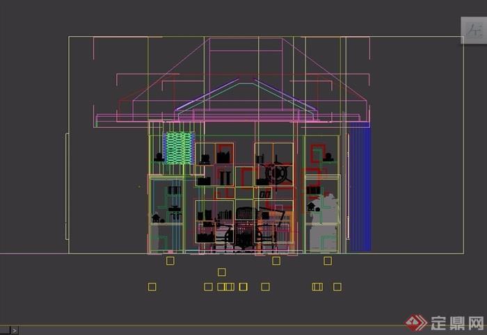 详细的室内办公室设计3d模型