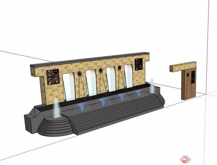 园林景观详细水池景墙素材设计su模型