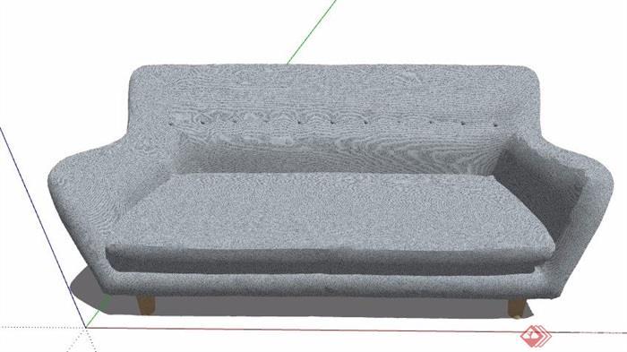 现代简约多人布艺沙发素材su模型