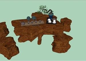 中式禅意木头茶几SU(草图大师)模型
