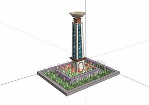 种植池及景观灯柱设计SU(草图大师)模型
