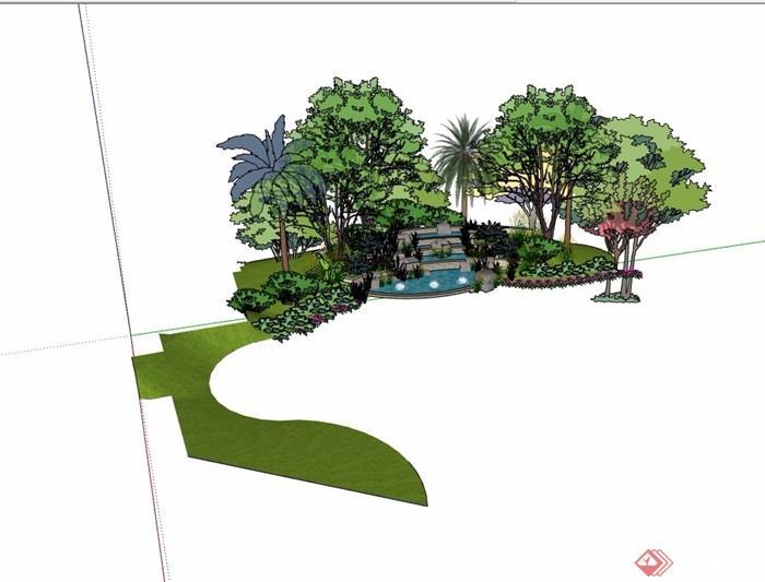 台阶水池,花池,种植池设计su模型