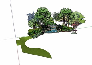 台阶水池、花池、种植池设计SU(草图大师)模型