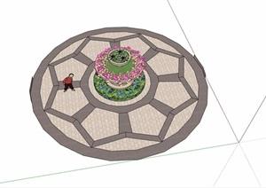 某详细的欧式花池素材设计SU(草图大师)模型
