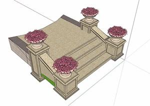 园林景观详细的台阶素材设计SU(草图大师)模型