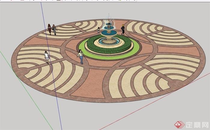 欧式风格喷泉水钵及地面铺装设计su模型