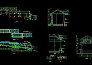 园林景观详细的廊亭素材设计cad施工图