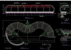现代庭院弧形廊架素材设计cad施工图