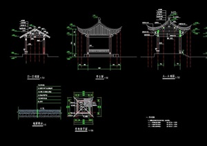 古典中式详细的亭廊组合设计cad施工图