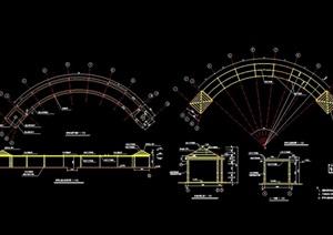 某精致详细的园林景观亭廊组合cad施工图