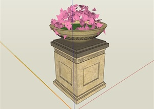 欧式详细的花钵柱素材设计SU(草图大师)模型
