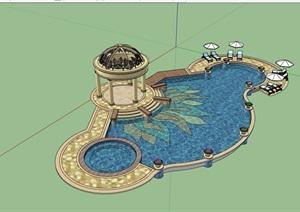 欧式风格庭院小场景泳池设计SU(草图大师)模型