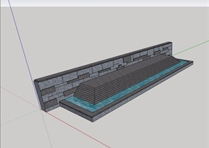 现代详细的水池景墙素材设计SU(草图大师)模型