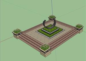 园林景观小场景种植池、花钵素材设计SU(草图大师)模型