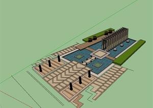 某详细的廊架水池景观设计SU(草图大师)模型