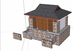 中式详细厕所设计SU(草图大师)模型