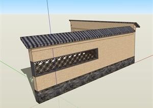 园林景观中式围墙素材设计SU(草图大师)模型
